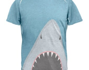 Summer Shark Attack Teeth All Over Heather White Adult T-Shirt
