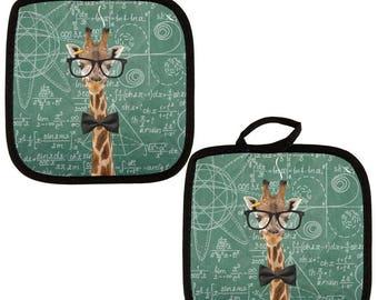 Giraffe Math Geek Formulas All Over Pot Holder (Set of 2)