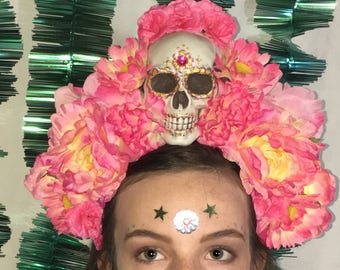 Mexican Day-of-the-dead Inspired Festival Carnival Crown Unique Pink Flowers Skull