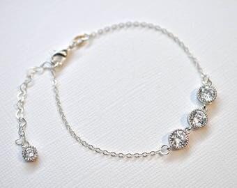 Handmade Delicate Triple Cubic Zirconia CZ Sterling Silver Bridal Bracelet, Bridal, Wedding (Sparkle-1941)