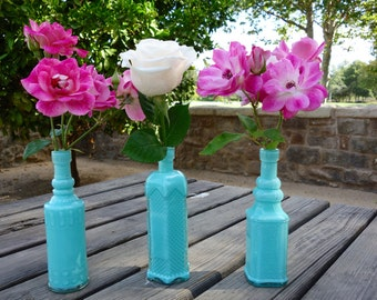 Vintage Inspired Seafoam Green Bud Vases/ Bottle Vases - 3 Bottles in a Set