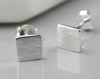 Magdelena Square Stud Earrings, Sterling Silver, Brushed Silver Earrings, Matt Silver Earrings, Textured Silver Earrings, Square Studs