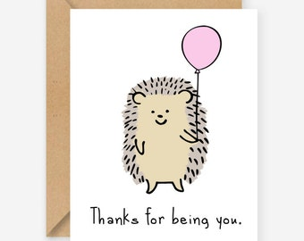 Thanks for being you, greeting cards, funny cards, blank cards, recycled cards, cute, silly, quirky, love, friend, birthday