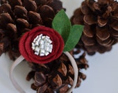 Holly berry red with metallic center felt flower headband {headband}