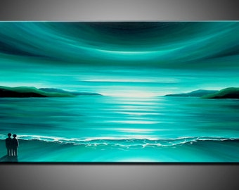 LARGE, Original, PAINTING on Canvas, TURQUOISE, green, landscape/Seascape, sunset, Wall Art, Modern, Contemporary