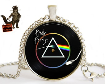 Pink Floyd Necklace,Pink Floyd Jewelry,Pink Floyd Music,Pink Floyd,Gift for Pink Floyd Fan,vinyl record,Fan The Pink Floyd,Men's Jewelry