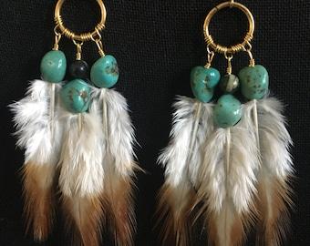 Turquoise and zebra jasper feather dangles