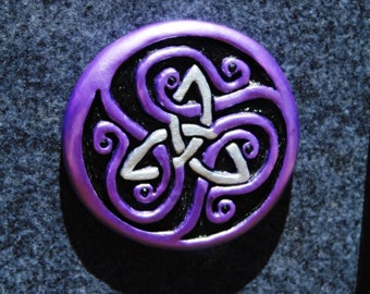 Celtic Wall Art Triquetra Clay Sculpture Talisman by psychic medium Ian Scott