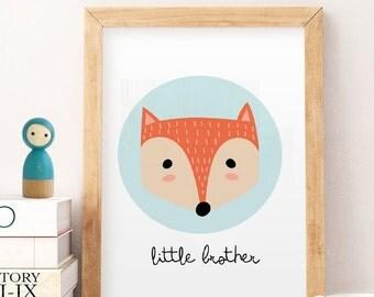 Little brother nursery printable wall art decor, Artprintsfact, Scandinavian print, affiche scandinave, kids wall art, nursery art printable