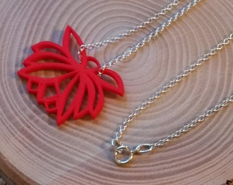 Easter gift for her, Red Lotus pendant necklace, 3d printed in Strong Flexible Plastic, Sterling Silver sturdy rolo belcher chain