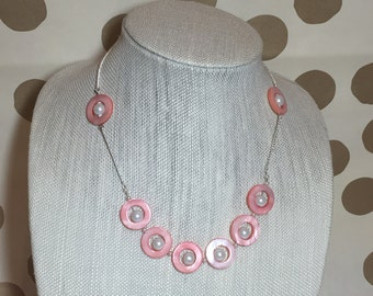Light Orange Shell and Pearl Necklace