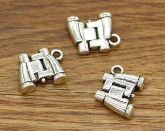 15pcs Binocular Charms 3D Telescope Antique Silver Tone 13x17mm cf2204