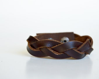 Women's Braided Leather Cuff:  Genuine Leather Dark Mahogany Brown Magic Braided Leather Bracelet