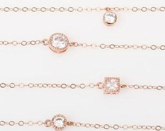 Anklet, Gold Anklet, CZ Anklets, Rose Gold Anklets, Foot Jewelry, Minimalist Anklets, Foot Jewelry,Ankle Bracelet,Ankle Jewelry,Charm Anklet