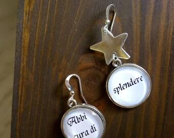 Sentence and star earrings