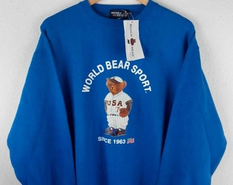 RARE!!! World Bear Sport Usa Big Logo Crew Neck Blue Colour Sweatshirts Hip Hop Swag L Size