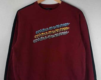 RARE!!! New Balance Big Logo Multicolour SpellOut Crew Neck Maroon Colour Sweatshirts Hip Hop Swag L Size