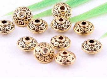 68 pcs Tibetan Gold(Lead-Free)Spacer Beads Findings 7x4mm