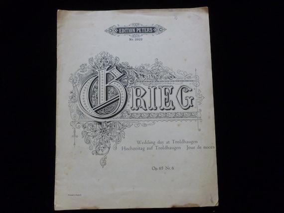Vintage Edvard Grieg Sheet Music Wedding Day At Troldhaugen