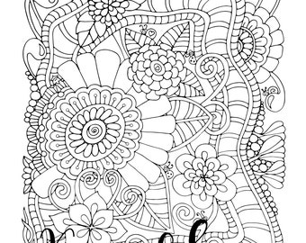 Serendipity, 1 Adult Coloring Book Page, Printable Instant Download, Karen Lukens