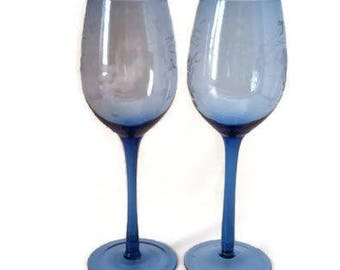Blue Stemware Wine Glasses Etched Grapes