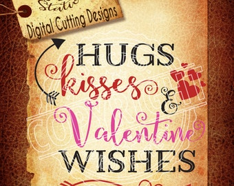Hugs Svg Valentine Svg Kisses Svg Heart Svg Arrow SVG DXF PNG and Eps Instant Download Digital Vector Cut File  Htv Silhouette Cricut