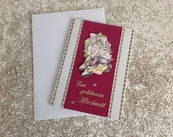 Handmade 3 D golden wedding card