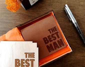 Best Man Gift, Best Man Gift Box, Groomsmen Gift, Husband Gift, Fathers Day Gift, Gift for Him, Birthday Gift for Dad, Mens Leather Wallet