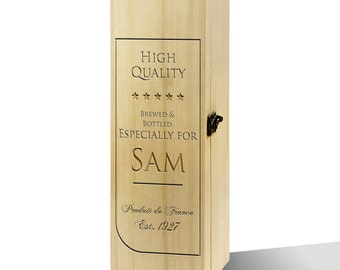 Personalised Produit De France Label Luxury Wooden Wine Box