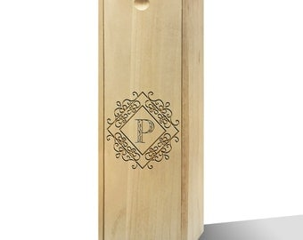 Personalised Diamond Initial Slide Wooden Wine Box