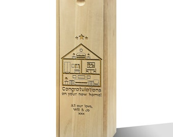 Personalised Congrats On Your New Home Wooden Wine Box