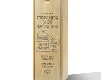 Personalised Your New Sweet Home Wooden Wine Box