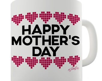 Mother's Day Pixel Hearts Ceramic Novelty Mug