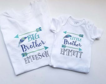 Big Brother Little Brother sibling shirt set arrows feathers
