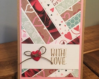 Stripes of Love Valentine's Day Card // Handmade Card