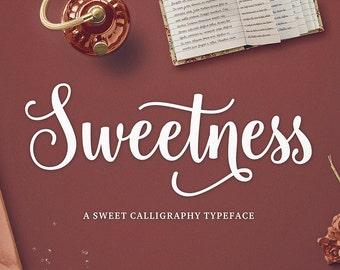 Sweetness Script, Modern Calligraphy Font, Brush Font, Handwritten Font, Digital Font Download