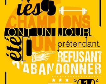 Carte postale d'une citation de Rocky Balboa - Les Champions