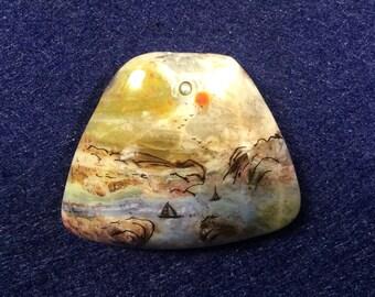 African Green Opal  Pendant bead 38x32x8 mm