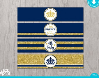 Prince Baby Shower Navy Blue Gold Glitter Print Yourself Water Bottle  Labels, Prince Baby Shower