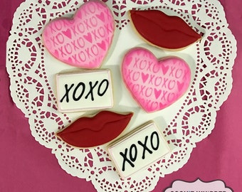 XOXO Hugs and Kisses Valentine Cookies - Gift Set of 6 or 12 Cookies