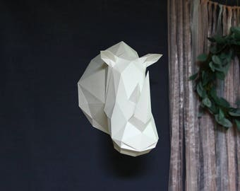 Be The Rhino Head!! Low poly sculpture PDF for Paper craft. Wall decor Trophy