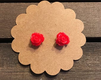 Red Rose Earrings, Red Flower Earrings, Rose Stud Earrings, Floral Earrings, Flower Earrings
