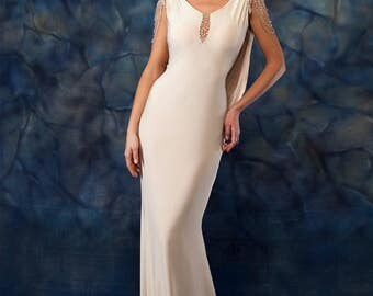 Prom Dress/Formal Dress/Beige Mermaid Cowl Back Formal Dress