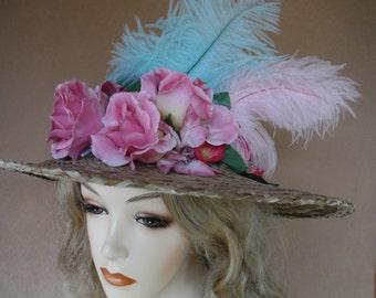 Victorian Style Hat, Straw Costume Hat with Pink and Aqua Flowers and Feathers,Tea Party,Kentucky Derby, Reenactment,Halloween or Easter Hat