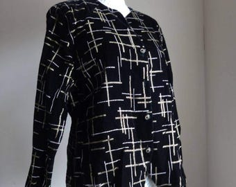 Jazzy snazzy 80's black velvet gold and silver, light shirt blazer by 'your sixth sense' UK14-16.