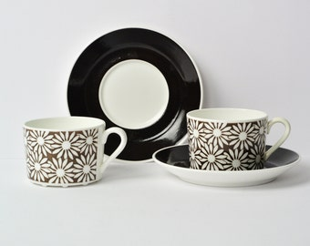 Gustavsberg 'ANITA' 4 available Coffee-Tea cups and saucers, MINT , design by Margareta Hennix/collectible / Scanavian Mid Century Modern