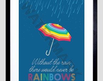 Quote Inspiration Rain Umbrella Rainbow Framed Wall Art Print F12X11635