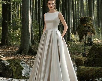 Simple satin wedding dress, sateen wedding dress, Moscato wedding dress