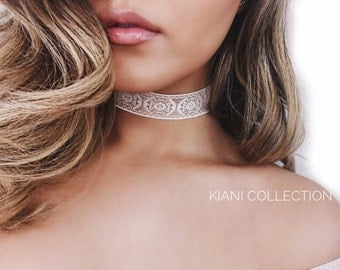 ivory choker, ivory gold necklace, print choker, handmade choker, handmade jewelry