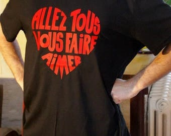 "T-shirt man, round, black, Calligram ""Will all make you love"" red size XL"